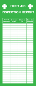 First Aid Inspection Report Tags (Adhesive)