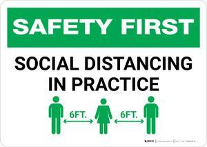 Safety First: Social Distancing in Practice Landscape - Wall Sign