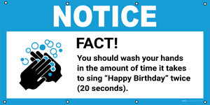 Notice: Fact You Should Wash Your Hands For 20 Seconds with Icon - Banner