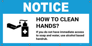 Notice: How To Clean Hands If You Do Not Have Access to Soap with Icon - Banner