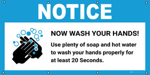 Notice: Now Wash Your Hands Use Plenty Of Soap with Icon - Banner