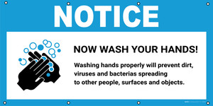 Notice: Now Wash Your Hands Washing Hands Properly To Prevent Dirt with Icon - Banner