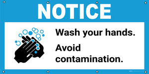 Notice: Wash Your Hands Avoid Contamination with Icon - Banner