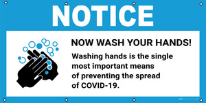 Notice: Wash Your Hands Washing Hands Prevents Spread Of COVID-19 with Icon - Banner