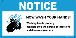 Notice: Wash Your Hands Washing Hands Properly Can Help with Icon - Banner