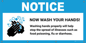 Notice: Wash Your Hands Washing Hands Properly Will Help Stop the Spread with Icon - Banner