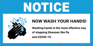 Notice: Wash Your Hands Washing Hands Stops Illnesses with Icon - Banner