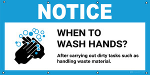 Notice: When To Wash Hands After Carrying Out Dirty Tasks with Icon - Banner
