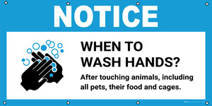 Notice: When To Wash Hands After Touching Animals with Icon - Banner