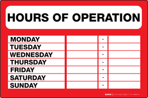 Hours of Operation - Wall Sign