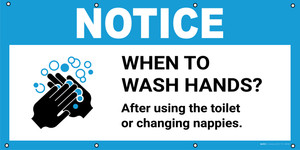 Notice: When To Wash Hands After Using The Toilet with Icon - Banner