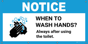 Notice: When To Wash Hands Always After Using The Toilet with Icon - Banner