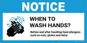 Notice: When To Wash Hands Before And After Handling Food Allergens with Icon - Banner