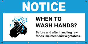 Notice: When To Wash Hands Before And After Handling Raw Foods with Icon - Banner