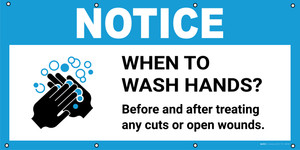Notice: When To Wash Hands Before And After Treating Any Cuts with Icon - Banner