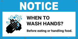 Notice: When To Wash Hands Before Eating Or Handling Food with Icon - Banner