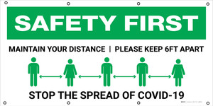 Safety First: Maintain Your Distance Please Keep 6ft Apart with Icons - Banner