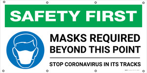 Safety First: Masks Required Beyond This Point Stop Coronavirus with Icon - Banner