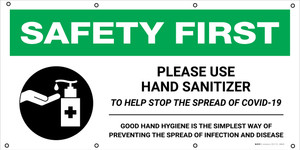 Safety First: Please Use Hand Sanitizer To Help Stop The Spread Of Covid-19 Good Hand Hygiene with Icon - Banner