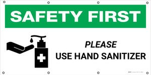 Safety First: Please Use Hand Sanitizer With Icon - Banner