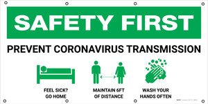 Safety First: Prevent Coronavirus Transmission with Icons - Banner