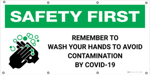 Safety First: Remember To Wash Your Hands To Avoid Contamination with Icon - Banner