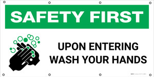 Safety First: Upon Entering Wash Your Hands with Icon - Banner