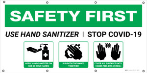 Safety First: Use Hand Sanitizer Stop Covid-19 with Icons - Banner