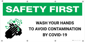 Safety First: Wash Your Hands Avoid Contamination By Covid-19 with Icon - Banner