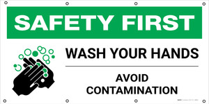 Safety First: Wash Your Hands Avoid Contamination with Icon - Banner