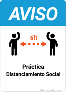 Notice: Practice Social Distancing with Icons Spanish - Wall Sign
