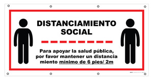 Social Distancing - Please Maintain Distance Spanish - Banner