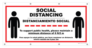 Social Distancing - Please Maintain Distance Bilingual Spanish - Banner