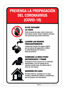 Prevent the Spread of Coronavirus - Covid-19 Spanish - Wall Sign