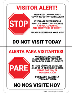 Visitor Alert - Help Keep Coronavirus Out of Our Facility Spanish Bilingual Portrait - Wall Sign