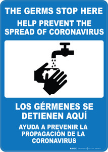 The Germs Stop Here with Icon Spanish Bilingual Portrait - Wall Sign