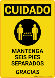 Caution: Please Maintain 6 Feet Spanish with Icon Portrait - Wall Sign