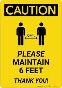 Caution: Please Maintain 6 Feet with Icon Portrait - Wall Sign