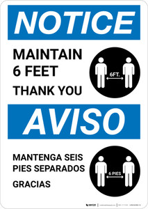 Notice: Maintain 6 Feet - Thank You Bilingual with Icon Portrait - Wall Sign