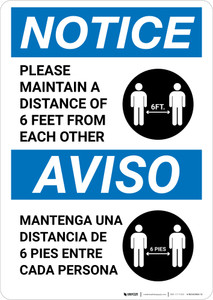 Notice: Please Maintain A Distance Of 6 Feet Bilingual with Icon Portrait - Wall Sign