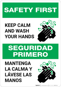 Safety First: Keep Calm and Wash Your Hands Bilingual with Icon Portrait - Wall Sign