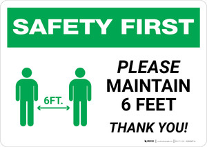 Safety First: Please Maintain 6 Feet with Icon Landscape - Wall Sign