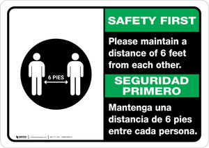 Safety First: Please Maintain A Distance Of 6 Feet Bilingual with Icon Landscape - Wall Sign
