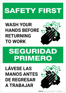 Safety First: Wash Hands Before Returning To Work Bilingual with Icon Portrait - Wall Sign