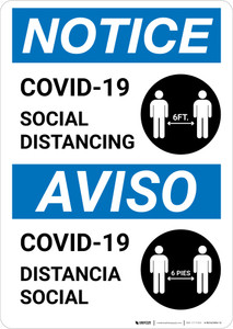 Notice: COVID-19 Social Distancing Bilingual with Icon Portrait - Wall Sign