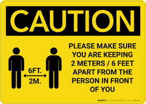 Caution: Please Make Sure You Are Keeping 6 Feet Apart with Icon Landscape - Wall Sign