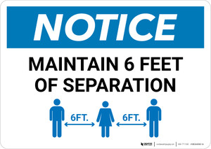 Notice: Maintain 6 Feet of Separation with Icon Landscape - Wall Sign
