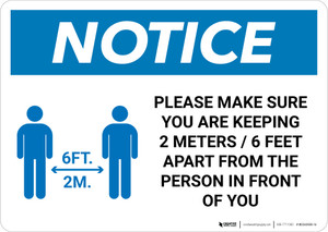 Notice: Make Sure You Are Keeping 6ft Apart with Icon Landscape - Wall Sign