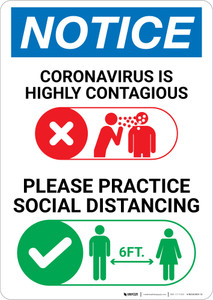 Notice: Please Practice Social Distancing with Icons Portrait - Wall Sign