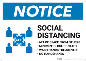 Notice: Social Distancing 6ft of Space From Others with Icon Landscape - Wall Sign